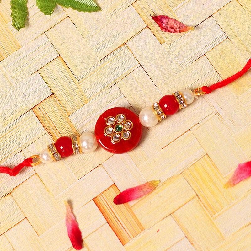 Kundan Pearl Rakhi - One Diamond and Pearl Rakhi