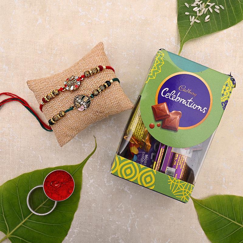 Kundan Rakhi Celebrations - Set of 2 Bhaiya Bhabhi Rakhi with chocolate