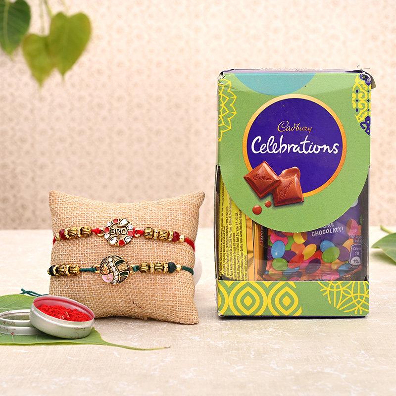 Kundan Rakhi with Bhaiya Bhabhi Rakhi chocolate Box online in India