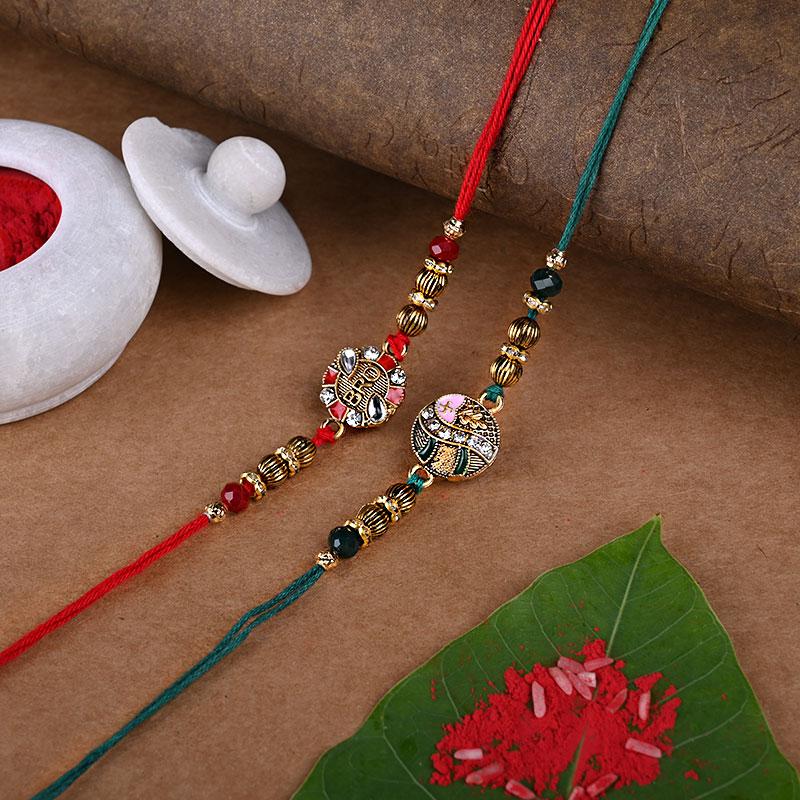 Kundan Rakhi online with chocolate gifts hamper