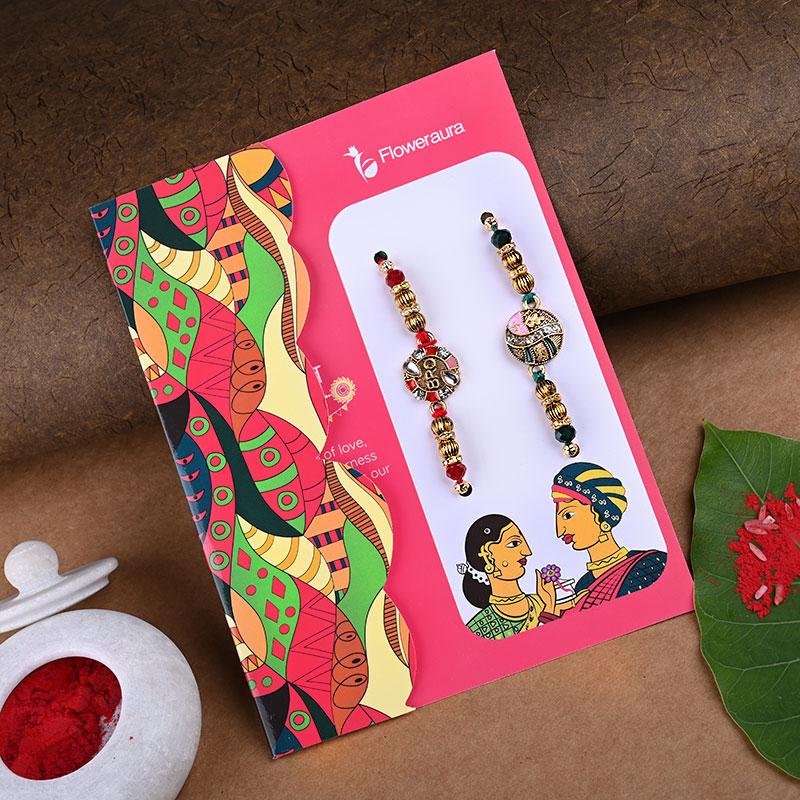 Kundan Rakhi online with chocolate gifts hamper rakhi view