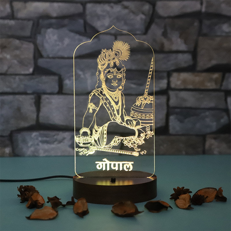 Laddu Gopal Glowing Lamp - LED Acrylic Multicolour Lamp with Top Glowing Part and Wooden Box