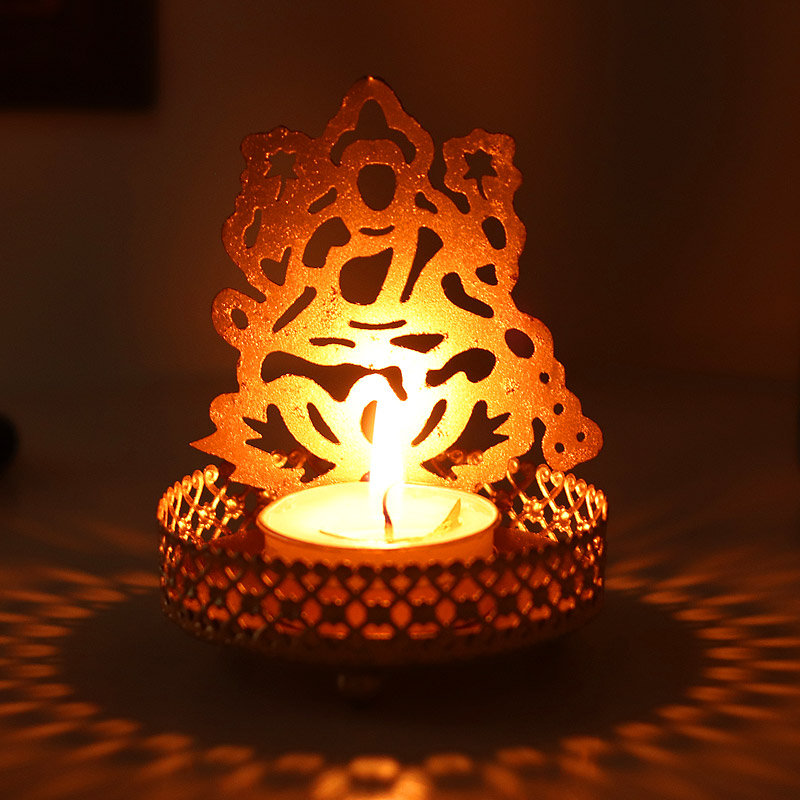 Laxmi Shadow Candle Holder - Metallic Shadow Lakshmi Tea Light Candle Holder
