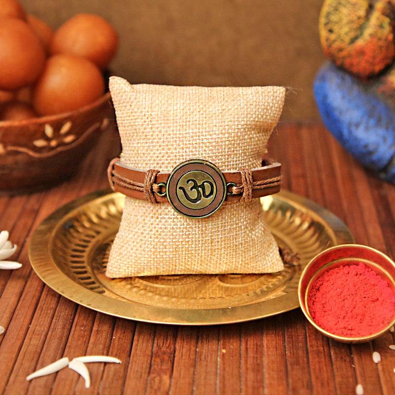Leather OM Bracelet Rakhi