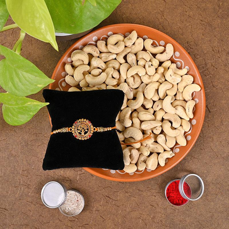 Life Tree Rakhi And Nuts Combo