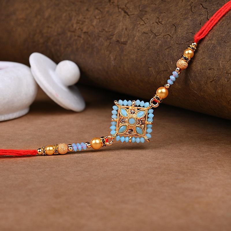 Light Blue Bead Rakhi - One Ethnic Rakhi