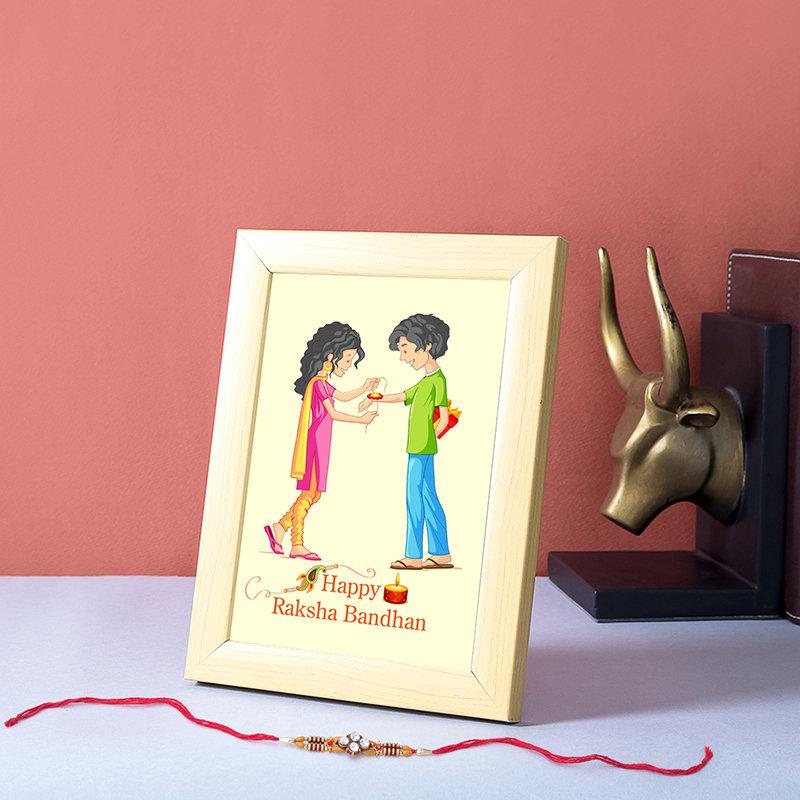 Light Brown Personalised Frame Rakhi