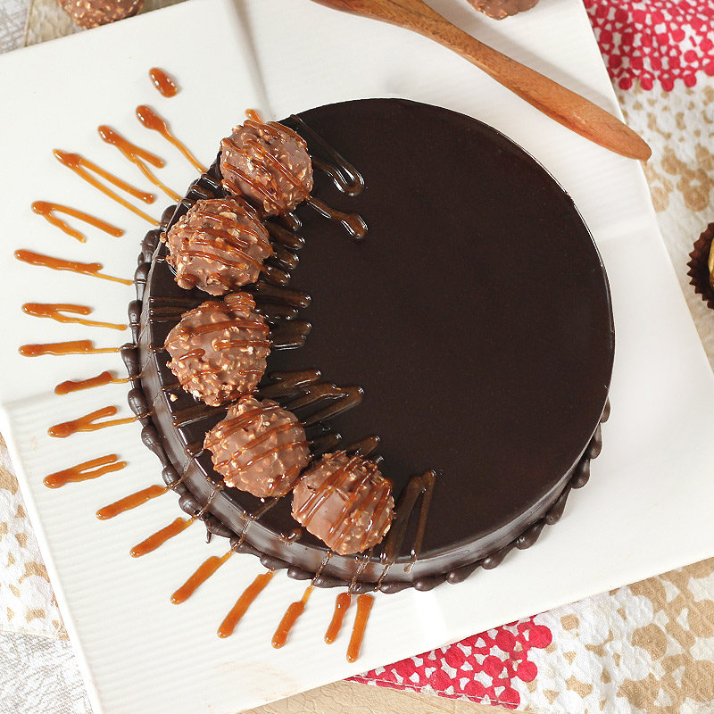 Ferrero Rocher Chocolate Cake - Top View