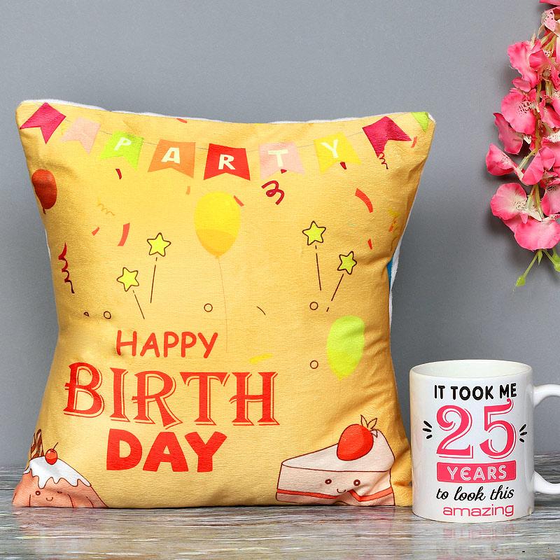 One Personalised AttractiveCeramic Mugand Printed Cushion
