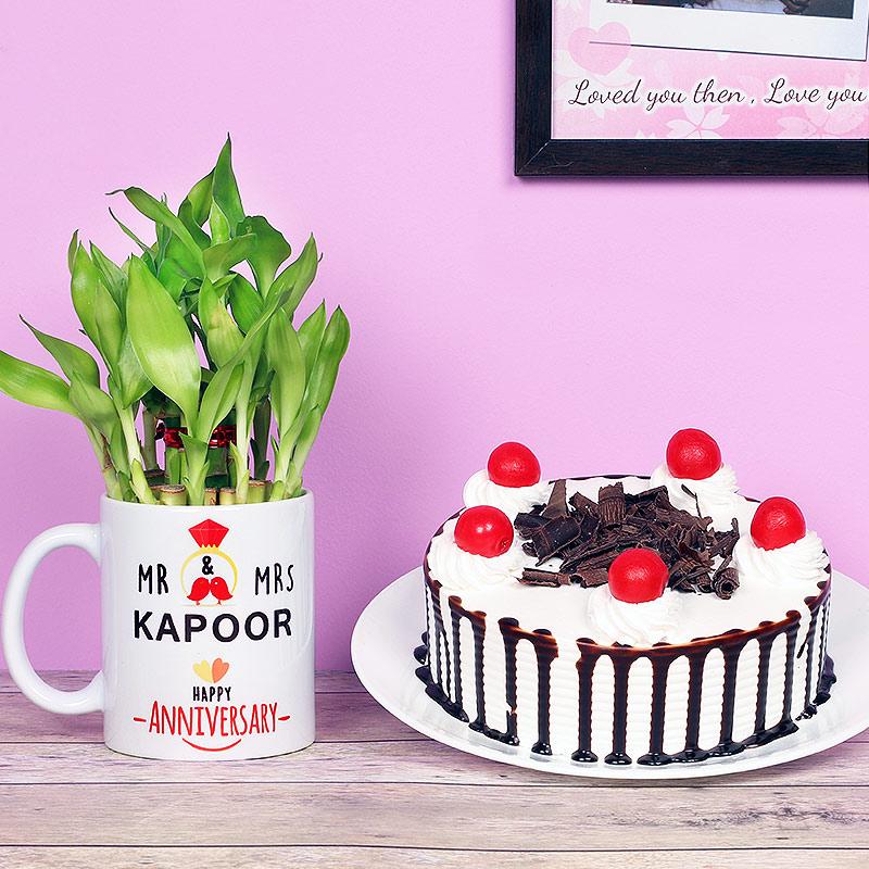 One Personalised Ceramic Mugand 500gm Blackforest Cake