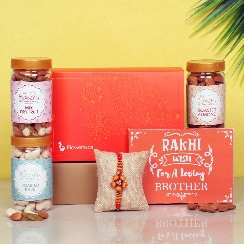 Love Bro Signature Box - One Designer Rakhi with Roli and Chawal and Roasted Cashews and Roasted Almonds and Mixed Dry Fruits and One Floweraura Signature Box