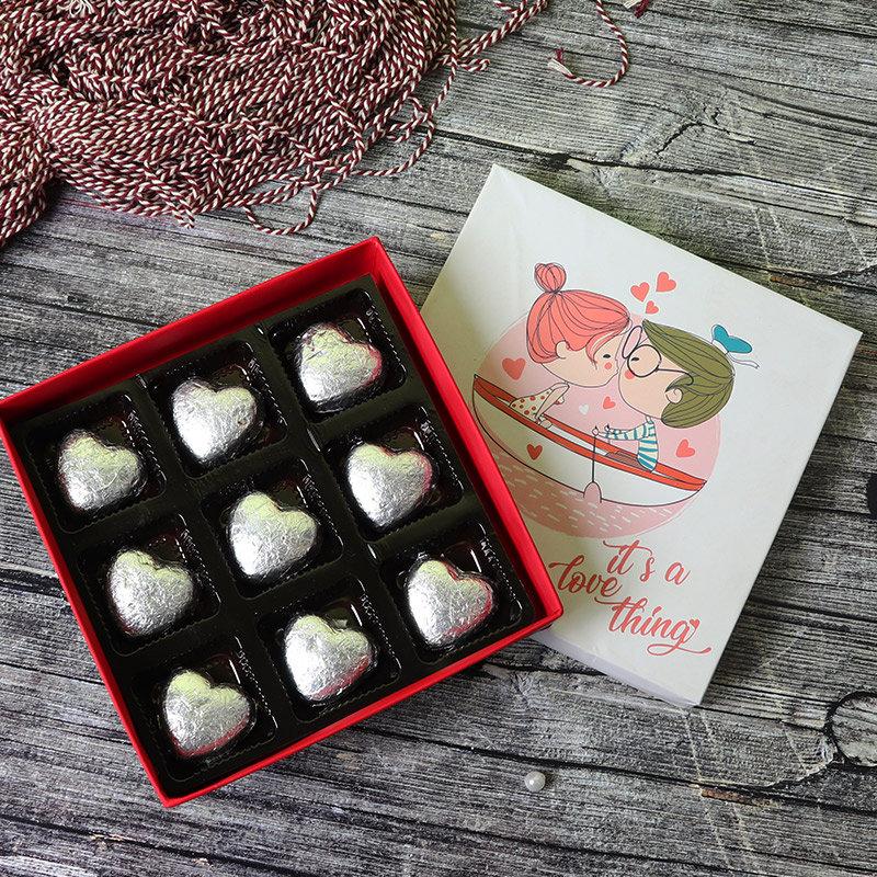Heart Shaped Handmade Chocolates in a Box