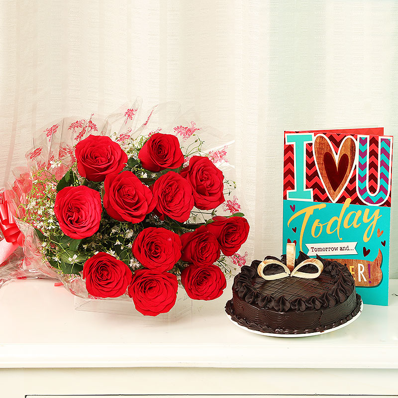 Roses Bunch with Greeting Card and Cake Combo