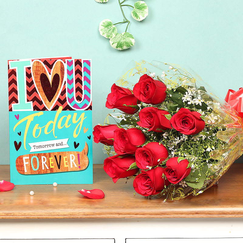 Red Roses Bunch and Greeting Card Love Combo for Valentines Day