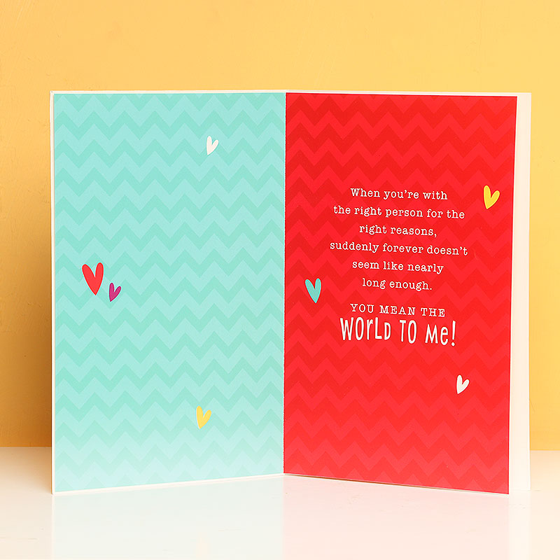Opened view of Forever Love Greeting Card