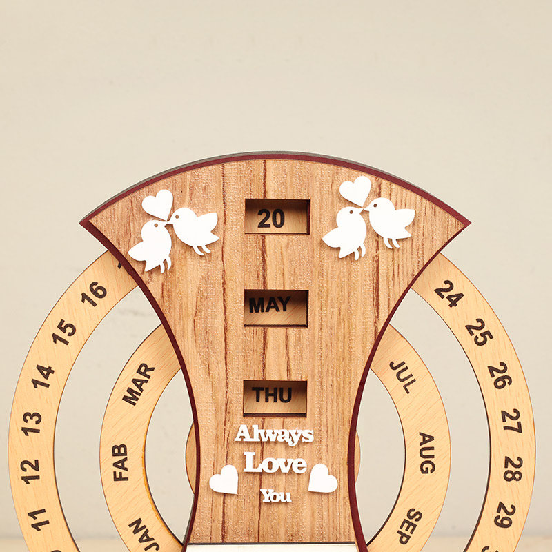 Top view of Lovebirds Anniversary Table Piece -Personalized Anniversary Gift
