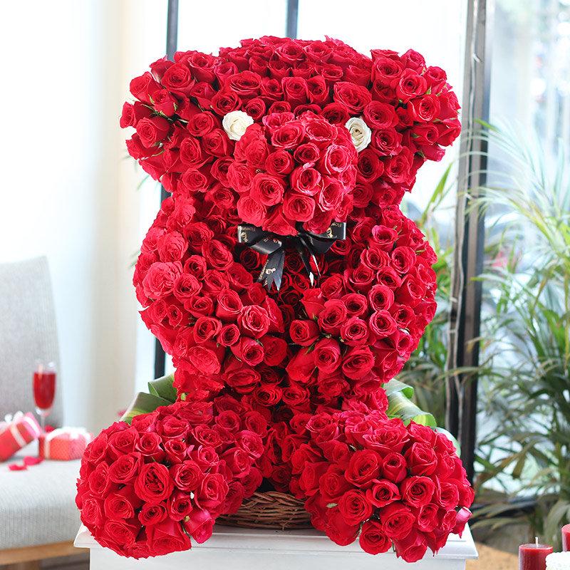 Teddy Shaped Arrangement of Roses
