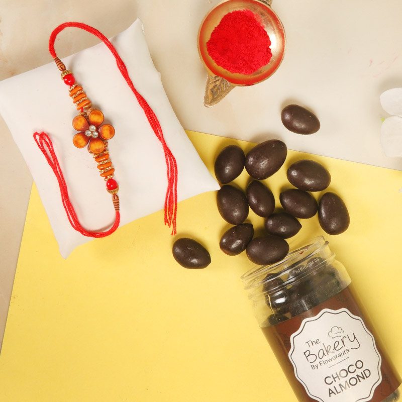 Lucious Choco Rakhi Combo - One Designer Rakhi with Complimentary Roli and Chawal