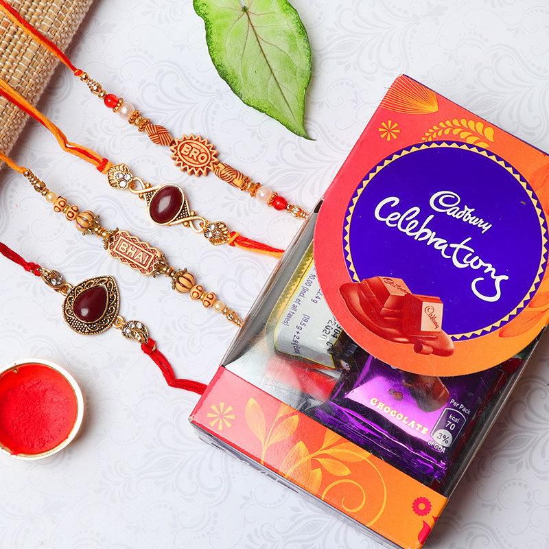 Lucious Rakhi Combo - Set of 4 Designer Rakhis with Cadbury Celebrations - 70gm