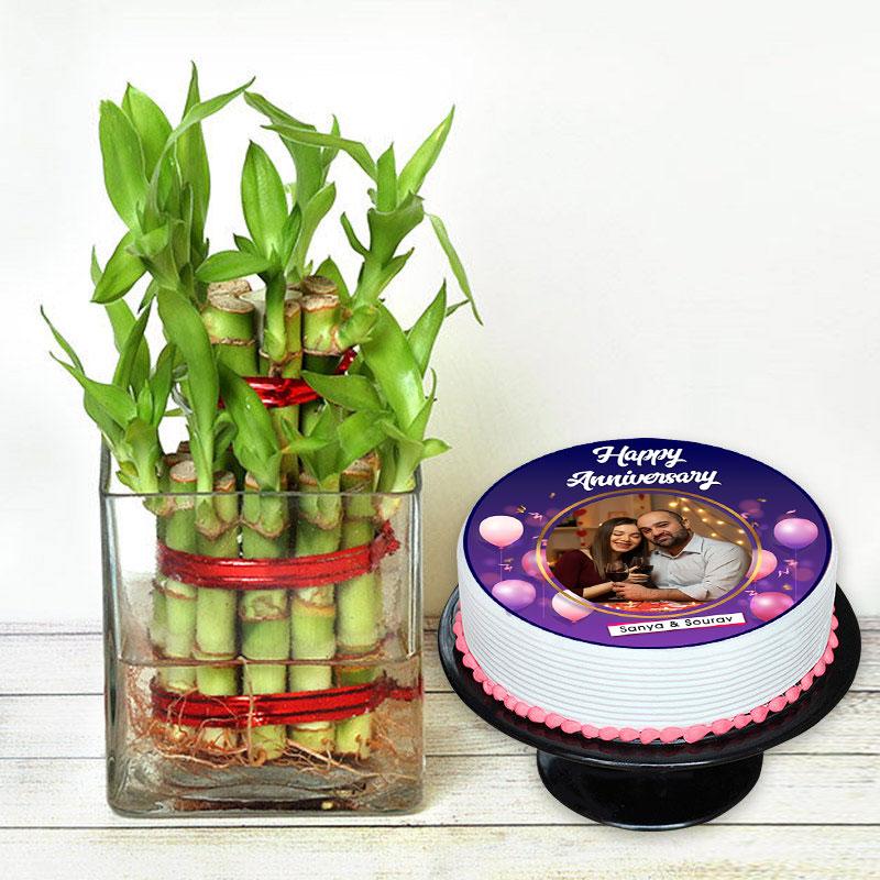 Lucky Bamboo N Anniversary Cake