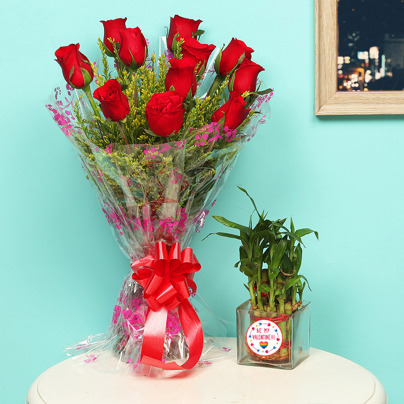 2 Layer Lucky Bamboo With Valentine Day Special Rose Bouquet