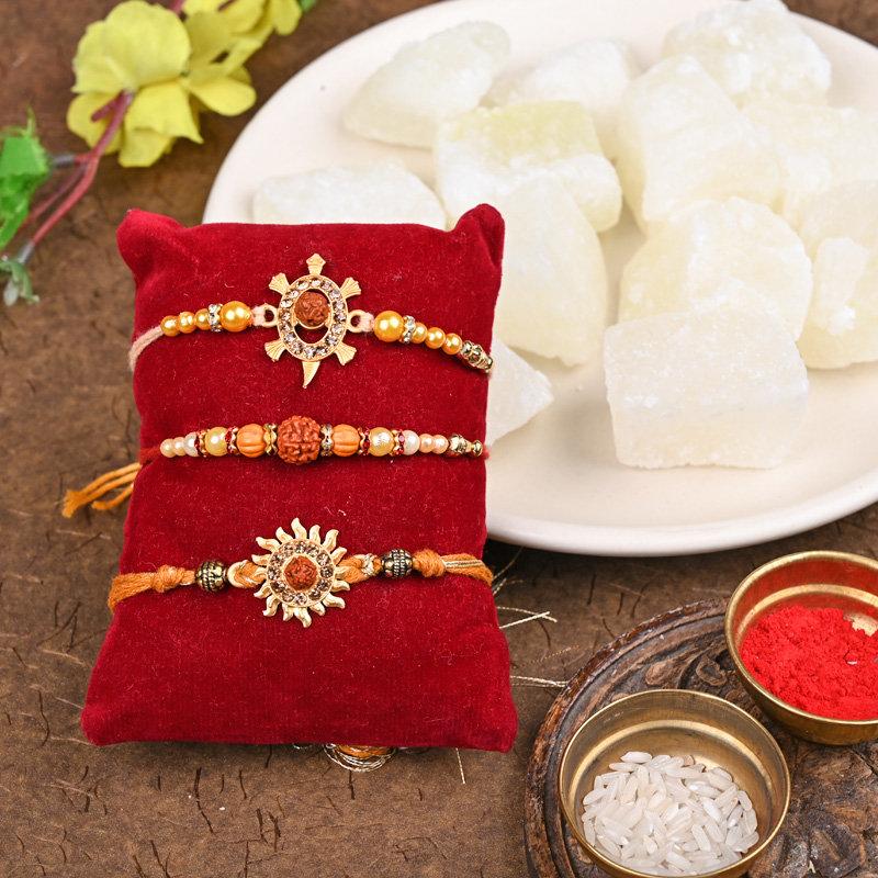 Lucky Charm Rakhis With Petha - Set of 3 Rudraksh Rakhis