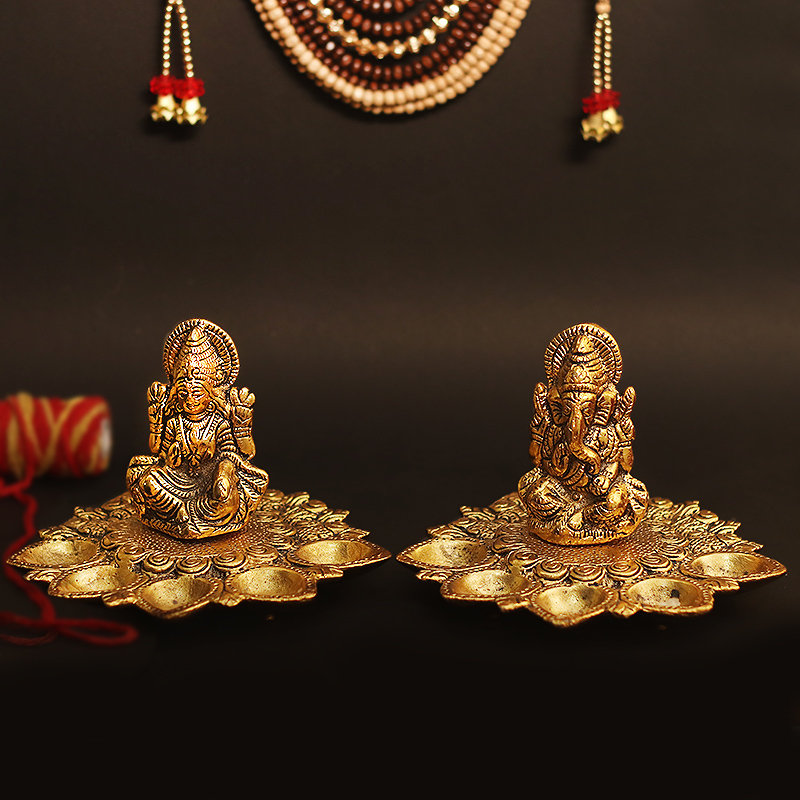 Pair Of Laxmi Ganesha Diya Idol