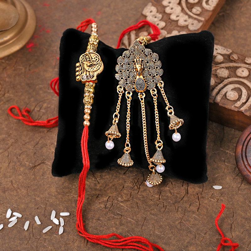 Magnificent Bhai Bhabhi Rakhi Set - One Bhaiya Bhabhi Rakhi