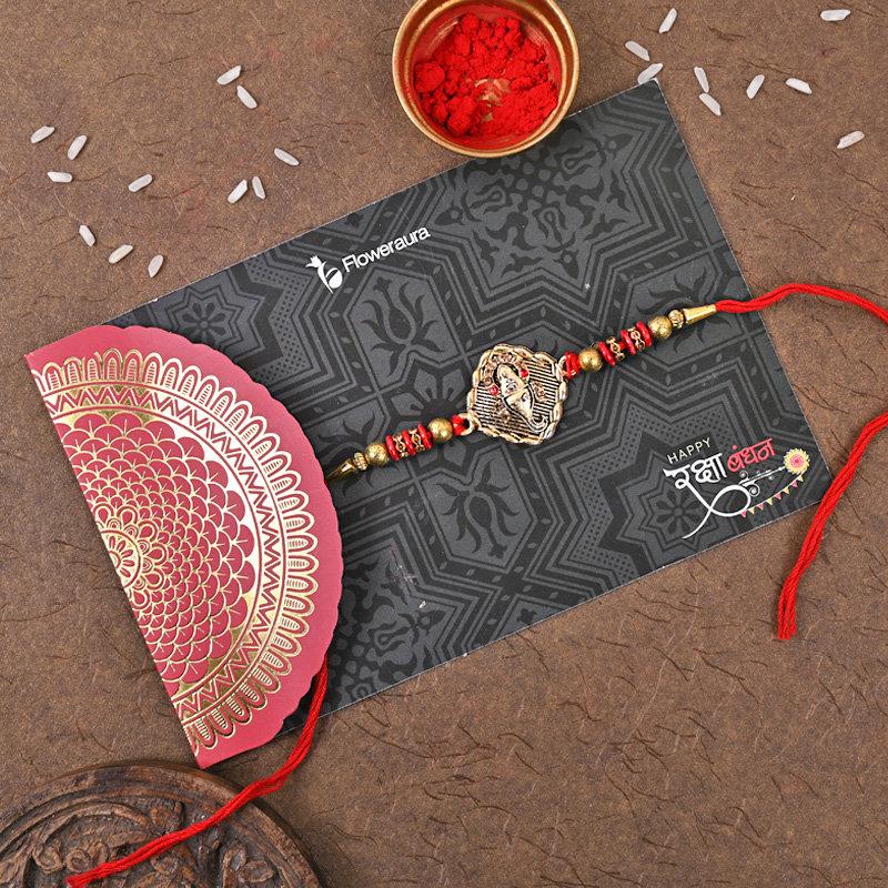 Plant Rakhi and Chocolate Box Hamper Online rakhi side View
