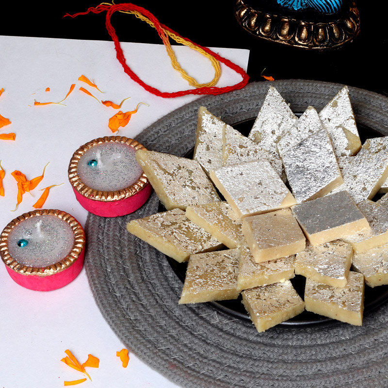 Make It Special Over Katli - 500gm Kaju Katli with 2 Designer Diyas