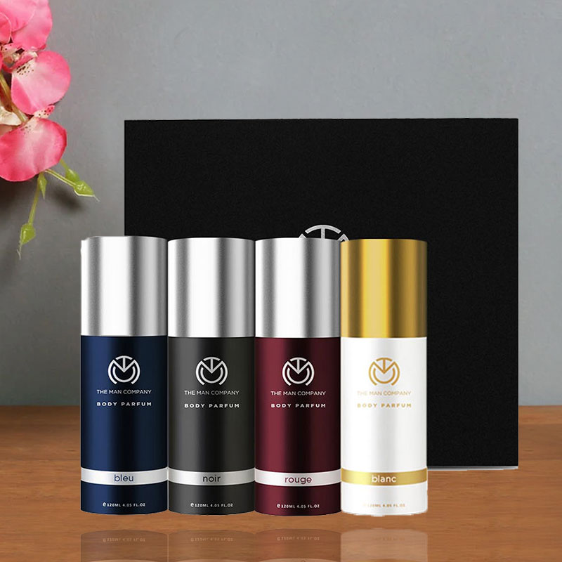 Male Perfume Set - Rouge body perfume 120 ml and Bleu Body Perfume 120 ml and Blanc body perfume 120 ml and Noir body perfume 120 ml
