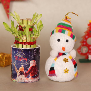 Merry Christmas Combo Gift of Bamboo and Snowman