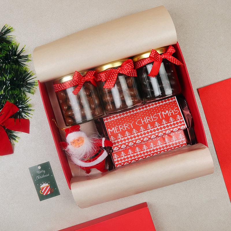 Christmas Gift Box of Chocolate Nuts with 2 Personalised Chocolates and 1 Santa Doll