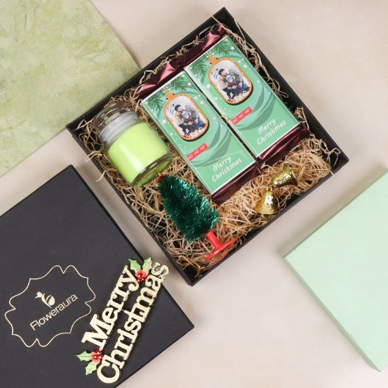 Merry Christmas Gift Box - Combo of chocolates, scented candles, bells and Christmas trees
