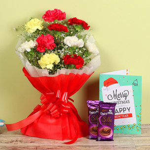 Carnations Bunch with Christmas Cards & Chocolates
