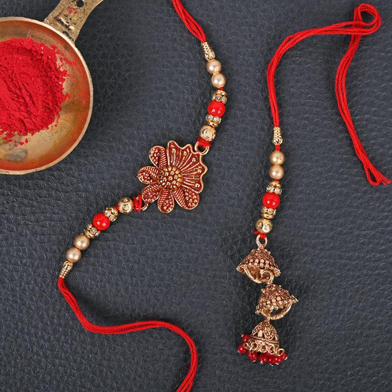 Metal Lumba Rakhi Set - One Bhaiya Bhabhi Rakhi