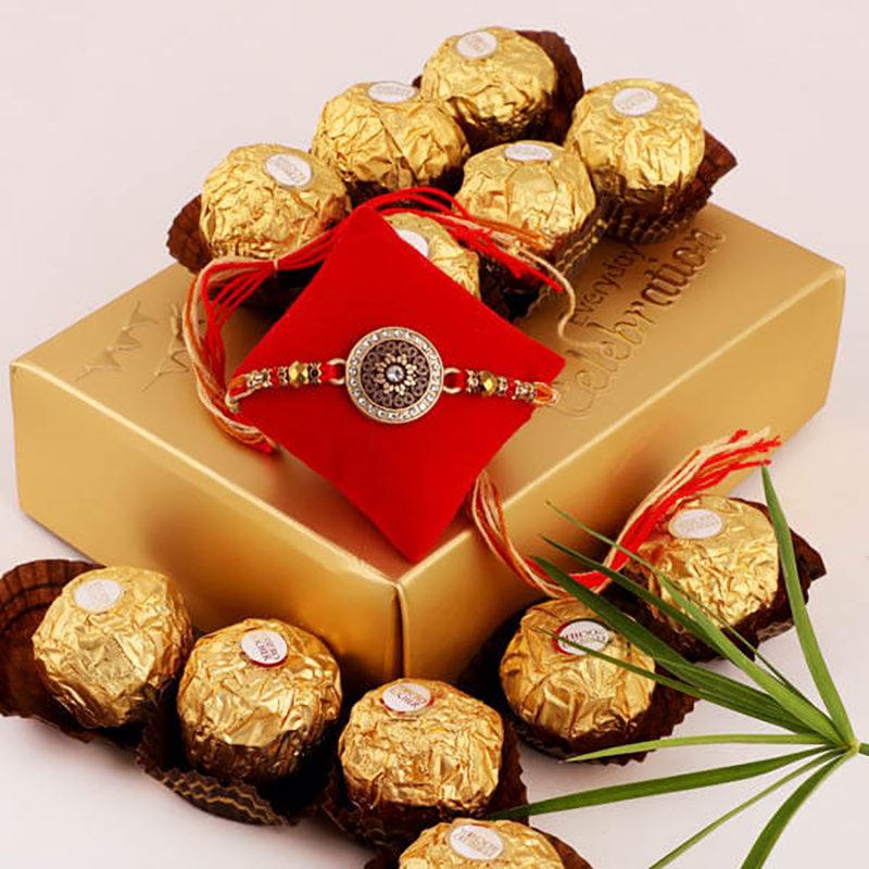 Metal Rakhi N Chocolates