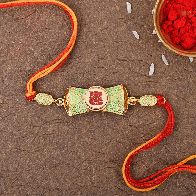 Metallic Ganesh Rakhi - One Designer Rakhi