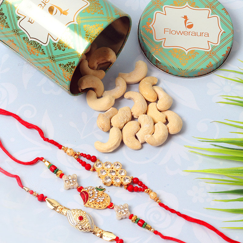 Metallic Rakhi N Cashew Combo - Set of 3 Designer Rakhi with Complimentary Roli and Chawal and 100gm Cashews in Green Floweraura Container