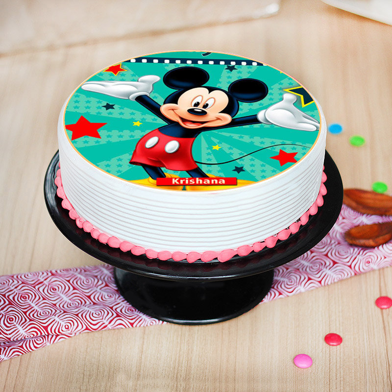 Front view of Mickey Poster Birthday Cake