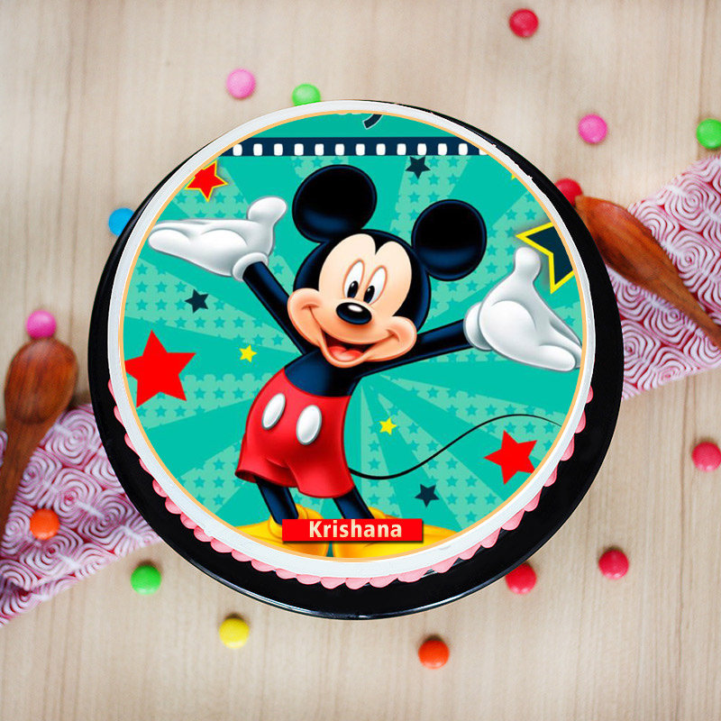 Top view of Mickey Poster Birthday Cake