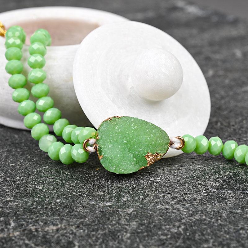 Mint Green Quartz Rakhi - Pearl Rakhi