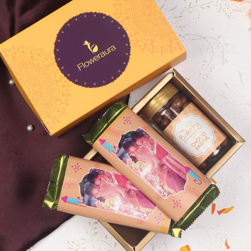 Mithas Diwali Signature Box of Choco Raisins with 2 Personalised Cadbury Temptation Chocolates and FlowerAura Signature Box