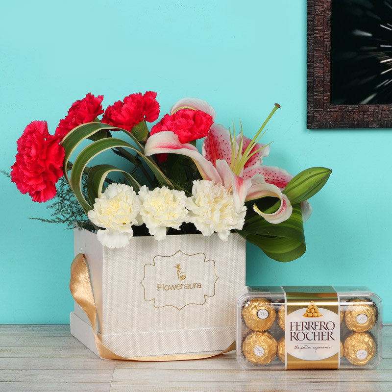 Carnation Lily Combo Arrangement With Chocolates