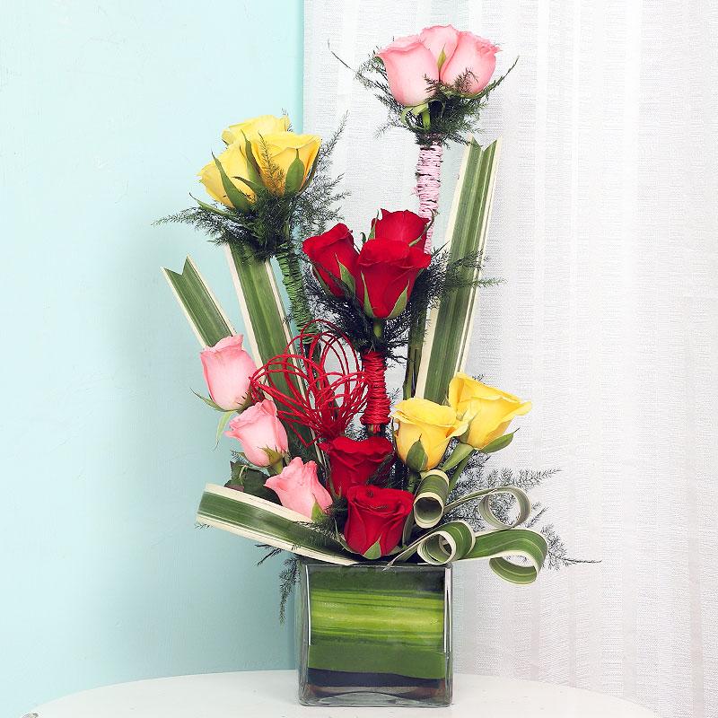 Mixed Roses Arrangement in Glass Vase