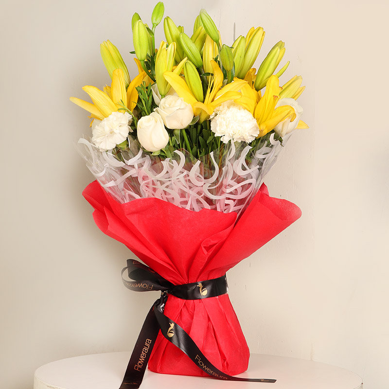 Mixed Floral Bouquet - Premium Bouquet of 26 Flowers with 6 Yellow Lilies and 10 White Roses and 10 White Carnations