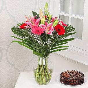 Mixed Flower Cake Combo