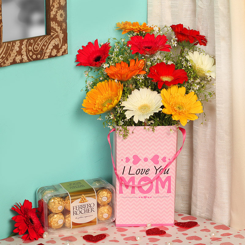 Flower Box With Chocolate For Mom