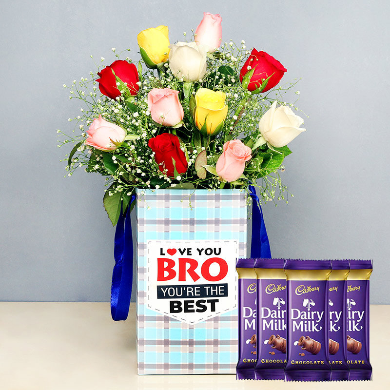 Mixed Rose Box With Chocolates - Bunch of 10 Mixed Roses with Brother Flower Box  and 5 Dairy Milk Chocolates