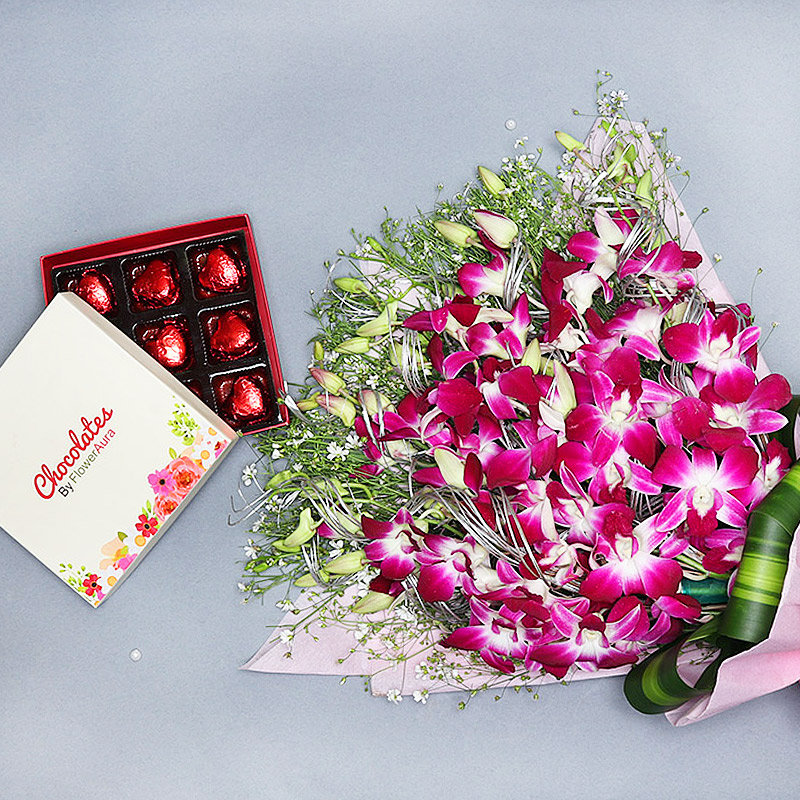 Orchids with Chocolates Combo
